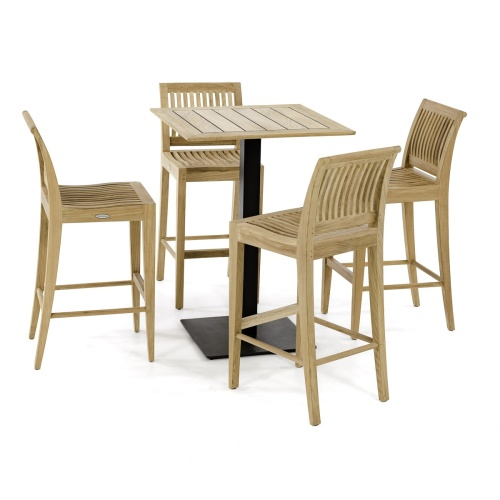 teakwood stainless steel cafe sets