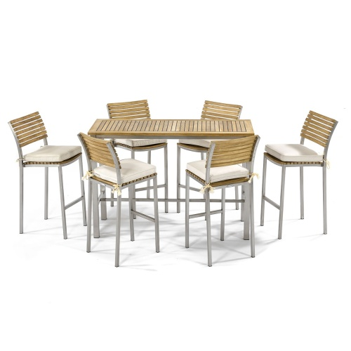 vogue teak and stainless steel bar table set for 6