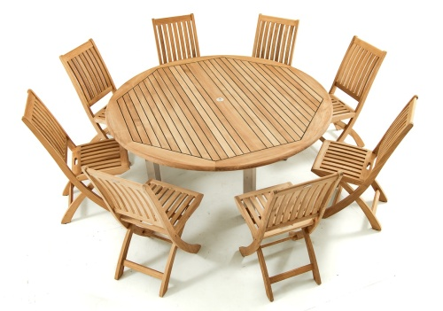 72 round teak and stainless steeldining set