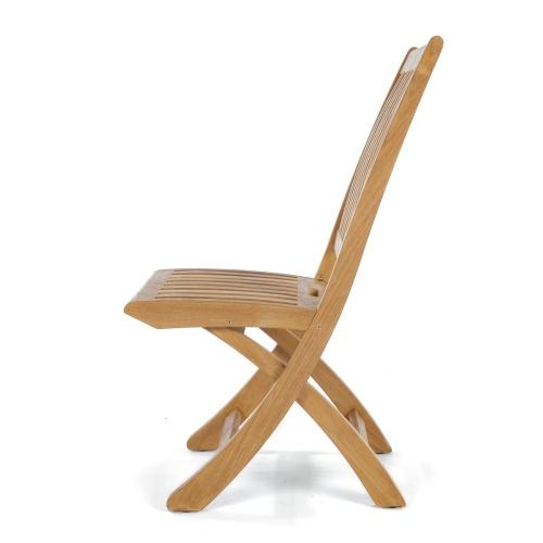contoured folding teak chair