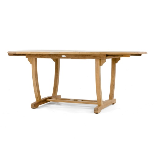 oval teak extension outdoor dining table