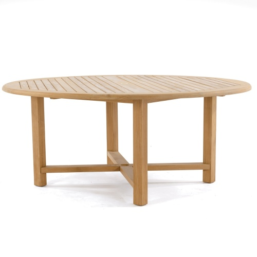 round wooden table for outdoor patio