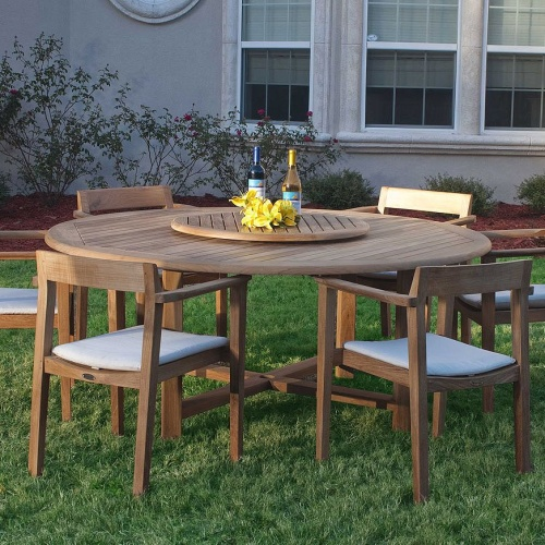 teak dining round sets for 6