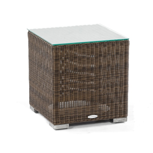 wicker patio side table with glass top