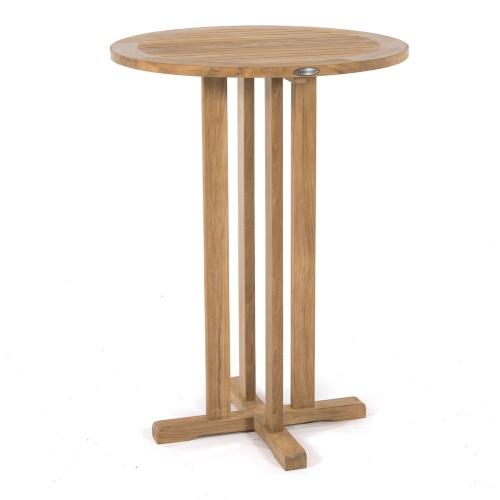 round bar table teak wood