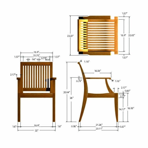 teak dining room arm chair