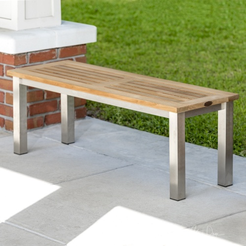 teak backless bench stainless stel