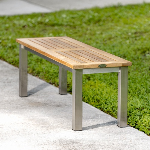 teak backless outdoor metal bench