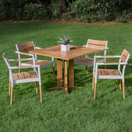 square teak outdoor dining set