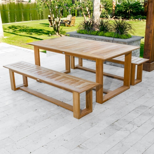 low backless teak garden bench extension table set