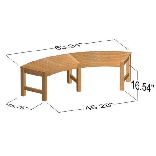 backless curved teak bench