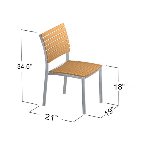 teak and stainless steel chairs without arms