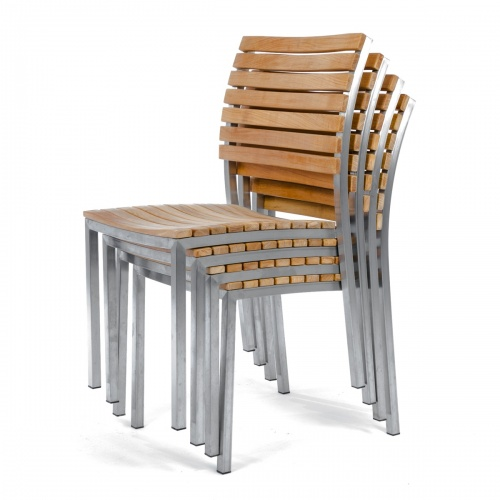grade a teak wood and stainless steel luxurious stacking side chairs