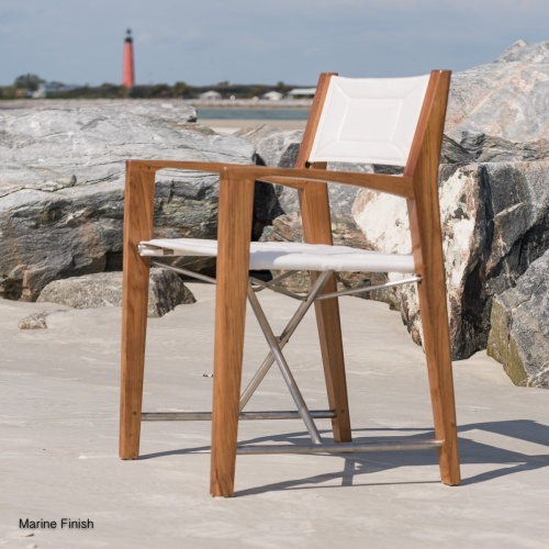 teak folding chair with canvas seating