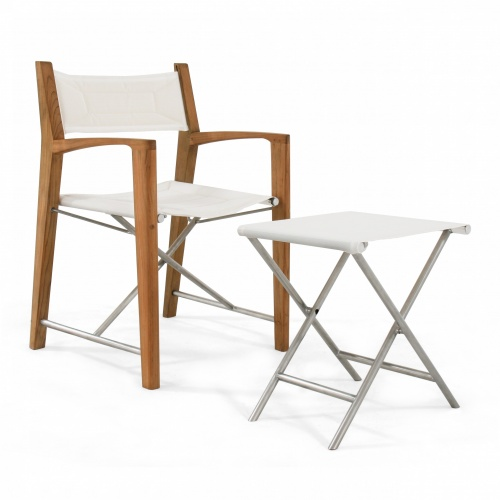 director chairs made with wood and stainless steel