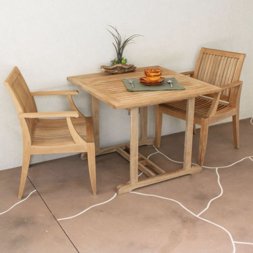 outdoor dining chair bistro set with teak