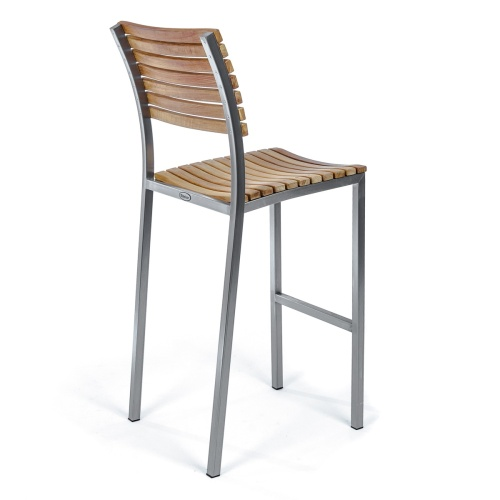 wooden and stainless steel high barstool outdoor