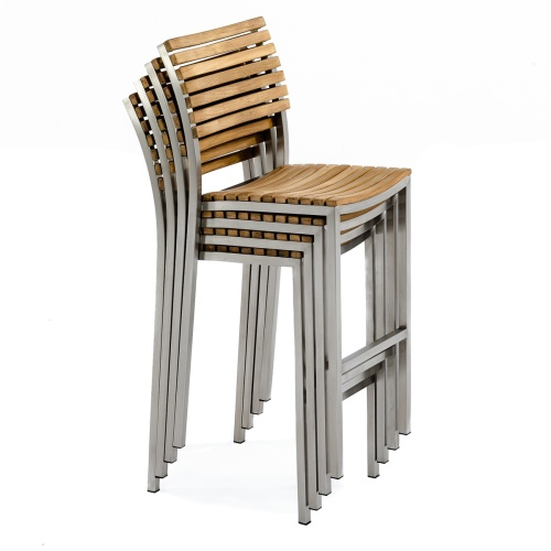 discount teak stainless steel stacking bar stools