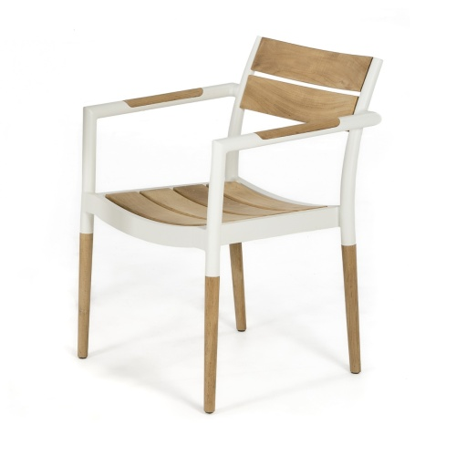 teak aluminum stacking dining chair