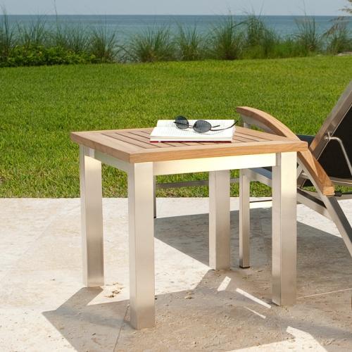 teakwood aluminum side table outside