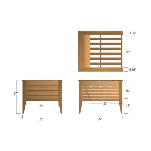 teak arm chair measurements