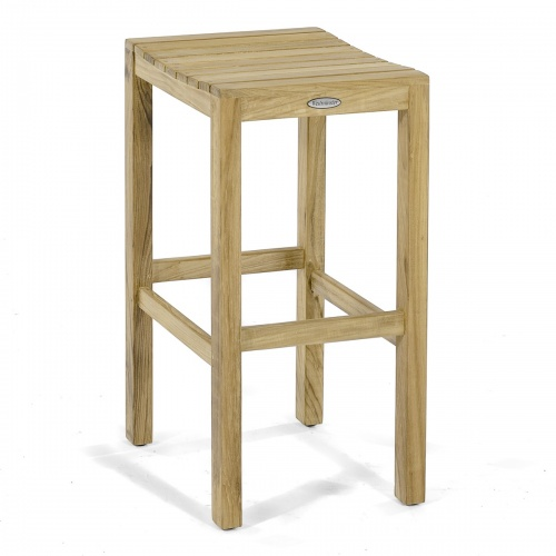 high backless teakwood bar stool