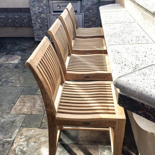 modern high teak bar stool