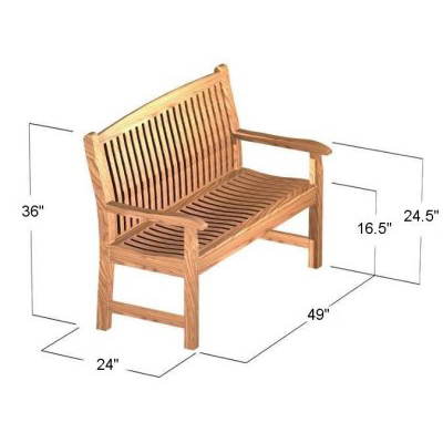 teak benches with contoured backs