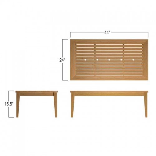 rectangular low coffee table teak