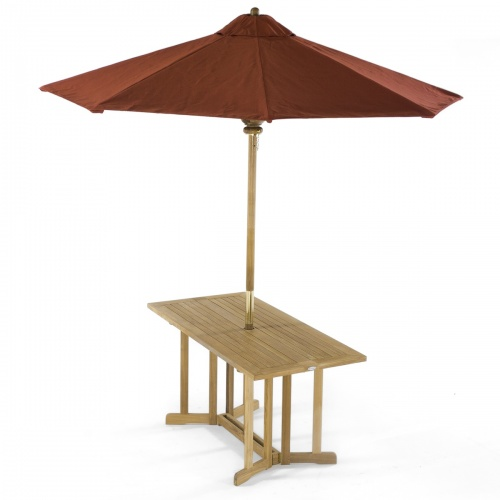 teak picnic folding table umbrella ready
