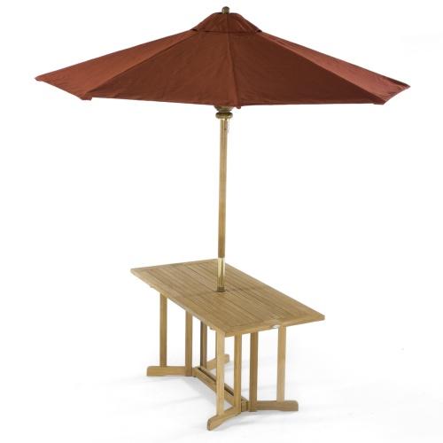 teak picnic folding table umbrella ready