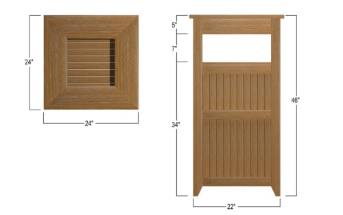 teak outdoor garbage can