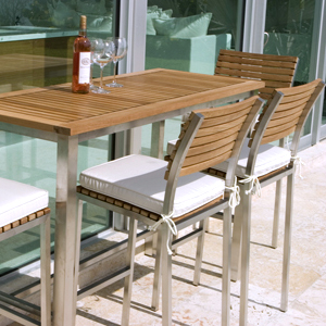 stainless steel with teak stacking bar stools