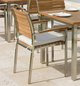 teak and stainless steel patio chairs with arms