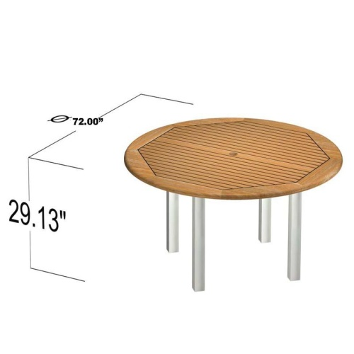 teak and stainless steel dining round sets for 8