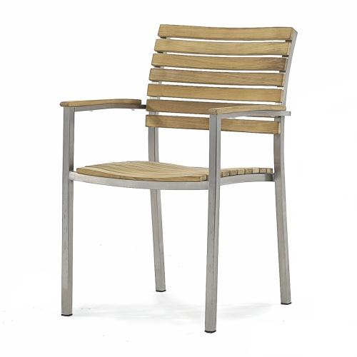 teak stanless steel stacking dining chairs outdoors