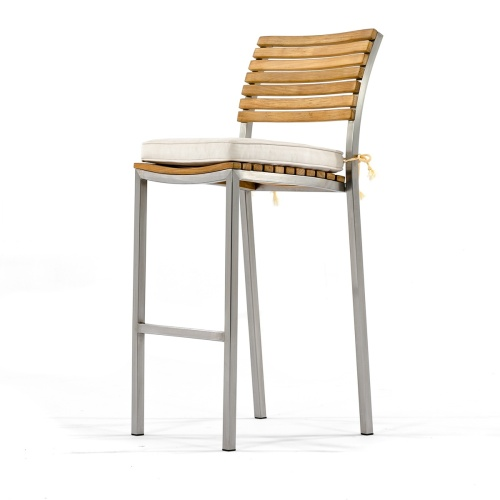 teak with stainless steel bar stool