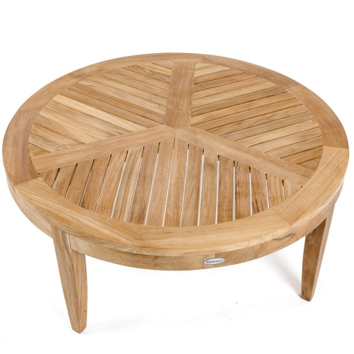 wooden outdoor coffee table round