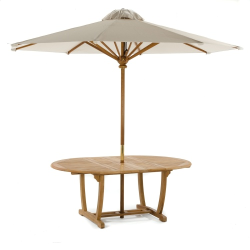 oval extension table with umbrella hole