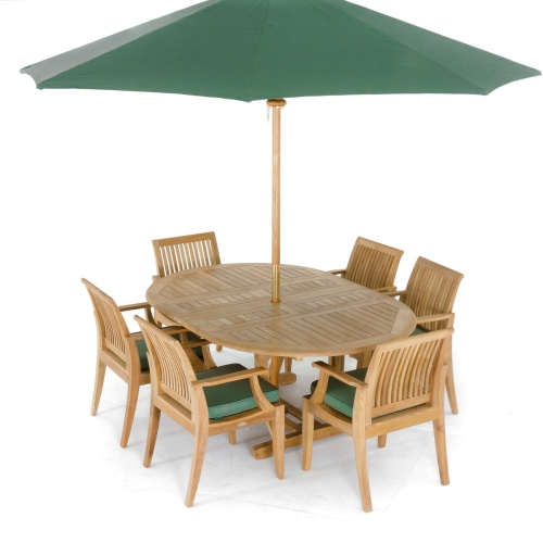 teak oval extension table folding chair set