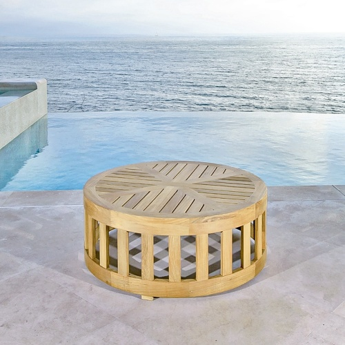 outdoor round teak wood coffee tables