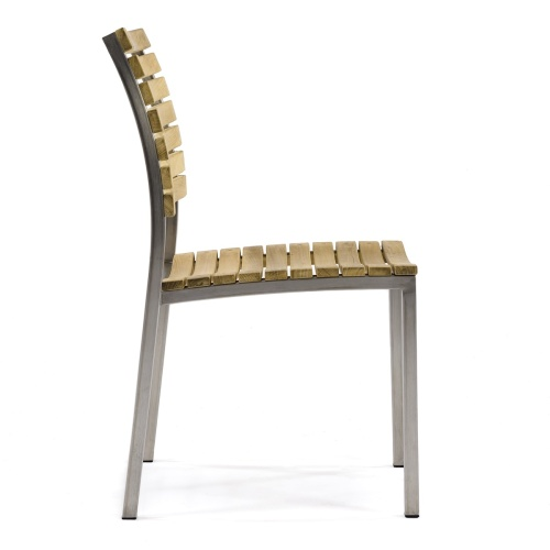 Teak Stainless Steel Side Dining Chair