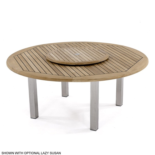 teakwood stainless steel dining table round