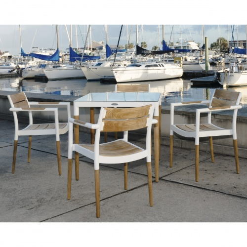 teak aluminum dining chair stacking