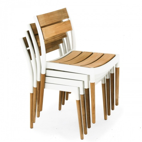 Stackable Teak Aluminum Chair