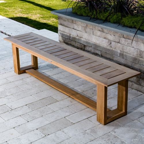 backless teak outdoor bench