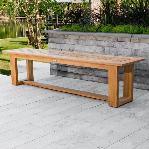 5 foot backless teak bench