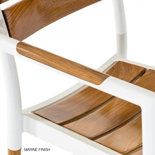 teak and aluminum patio armchairs