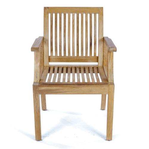 teak slat back arm chair