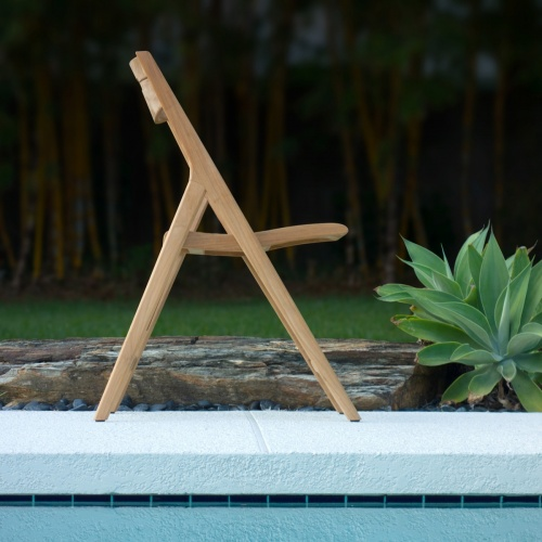 teakwood folding patio chair side